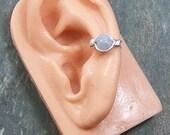 Aquamarine & Silver Ear Cuff