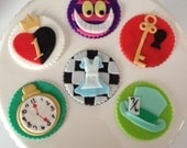 Mad Hatter and Alice In Wonderland Inspired Fondant Cupcake Toppers