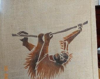 Orangutan ape jute bag hand painted