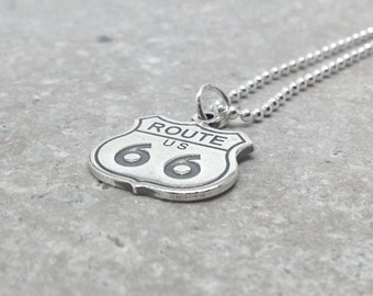 Route 66 Necklace, Route 66 Jewelry, Route 66 Pendant, Charm Necklace, Sterling Silver Jewelry, Sterling Silver Route 66, Route 66 Charm
