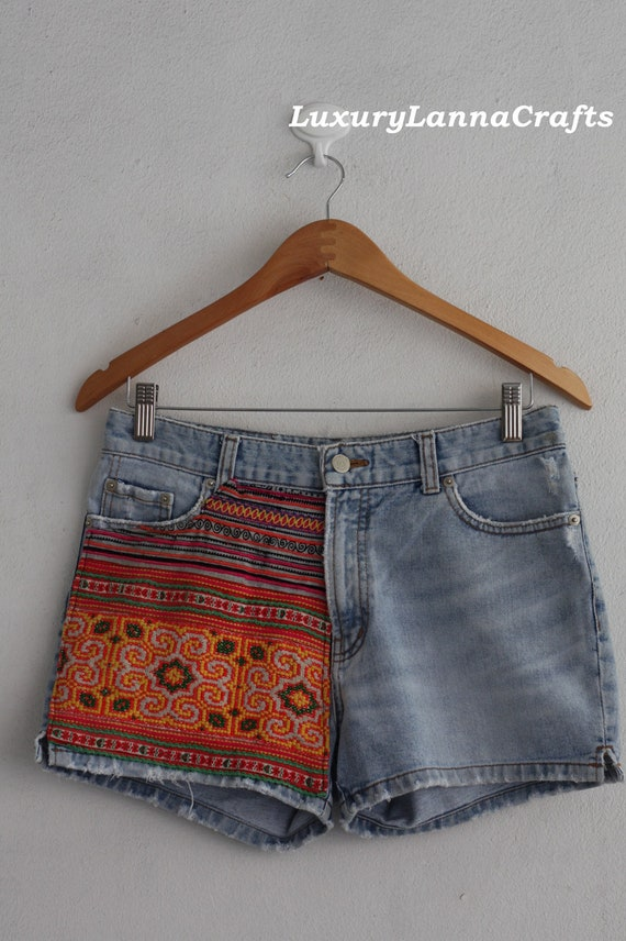SALE 30% OFF Hmong handmade embroidered patch Denim hot pants boho summer Ethnic chic HP2012-03