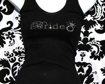 Diamond Ring Rhinestone Tank or Tee - Bride, Bridesmaid, Maid of Honor, Matron of Honor. Plus size Bride Shirt, BRide Tank, Plus size Bride,