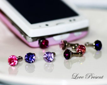 Black Friday iPhone5  Dust Plug Headphone Plug Charm - Sparkly decoration in Swarovski Crystal Birth Stone  - Choose your color