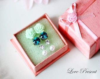Special Christmas Gift Set for your Love-  Swarovski Crystal/ Petite Rose/ Pearl Post studs Earrings set - Choose your color