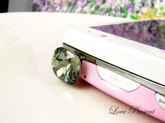 iphone 6 plus -  Dust Plug Headphone Plug Charm - Sparkly decoration in Grand Swarovski Crystal  - Color Black Diamond