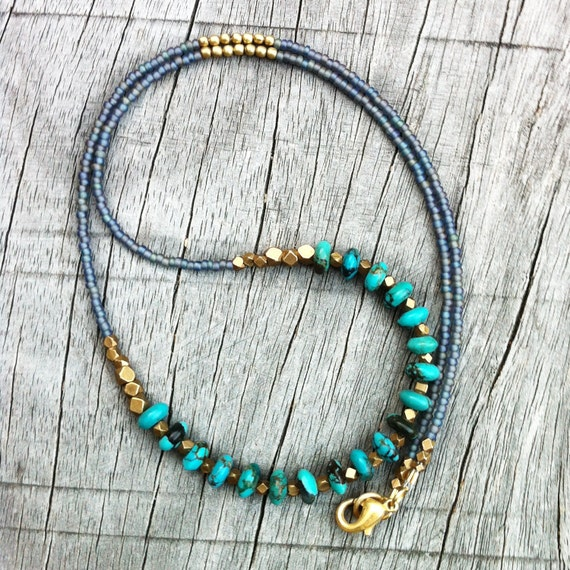 Elegant Turquoise Necklace, Geometric Brass Nuggets, Seed Bead Jewelry, Boho Chic, Tribal, Native Inspired, Refined, Southwestern, Bohemian