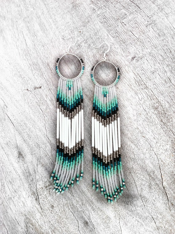Long fringe beaded earrings mint teal white shoulder for How to make american indian jewelry