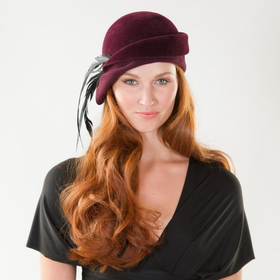 Cloche Hat- Fall Bohemian Cloche with Feathers