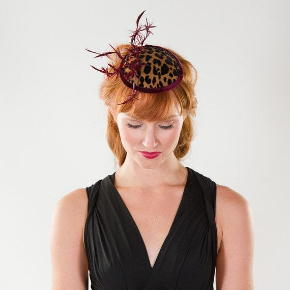 Holiday Cocktail Party Fascinator, Red Velvet Leopard Cocktail Hat