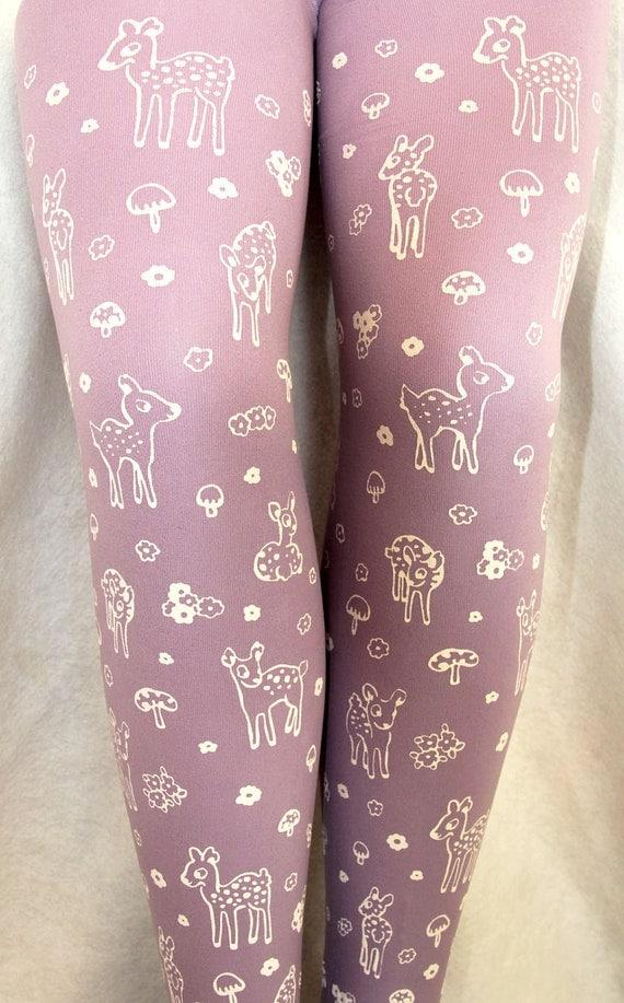 Deer Tights Large Fawn & Mushroom Print White on Lavender Lilac Pastel Purple Women Mori Girl Toadstool Forest Cute Retro