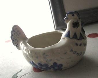 VINTAGE SUGAR BOWL Chicken Delft Porcelain