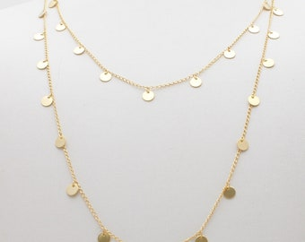 Gold discs necklace , long delicate gold necklace , Boho style necklace