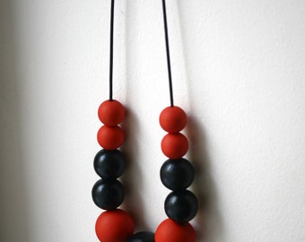 Flamenco Nights Statement Necklace/ Handpainted Wooden Beads and Leather/ Red and Black / Bauhaus Inspired / Modern