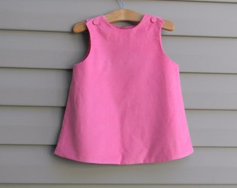 Girls Pink Corduroy Jumper Dress (Size 6 month to Girls Size 6) --With option for monogram or Applique with Upgrade