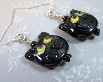 Black Cat Charm Earrings