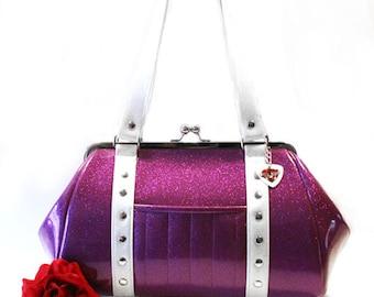 Purple Sparkle Purse - Vinyl Handbag - Violet Purse - Rockabilly Bag - Pin Up Purse - MADE TO ORDER