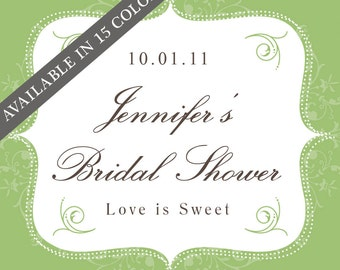 36 - Personalized Labels - Bella Design 2 x 2 inch - ANY COLOR - wedding labels, favor labels, adhesive labels, custom labels