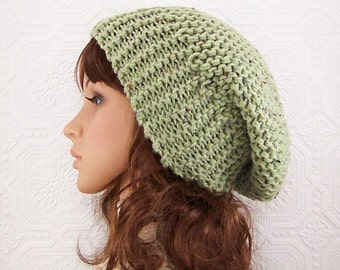 Knit slouch hat - green slouchy beanie - chunky knit hat - handmade gift for her Winter Accessories by Sandy Coastal Designs - ready to ship