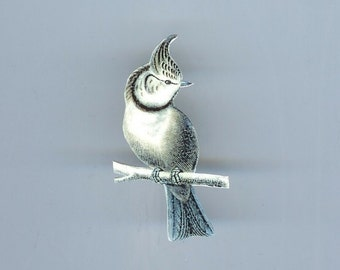 Gray Bird Brooch