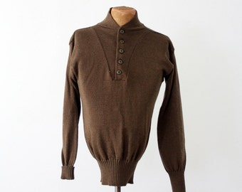 vintage army sweater, wool henley pullover