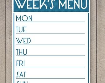 Printable Menu Planner Weekly Food Family Organizer Chart