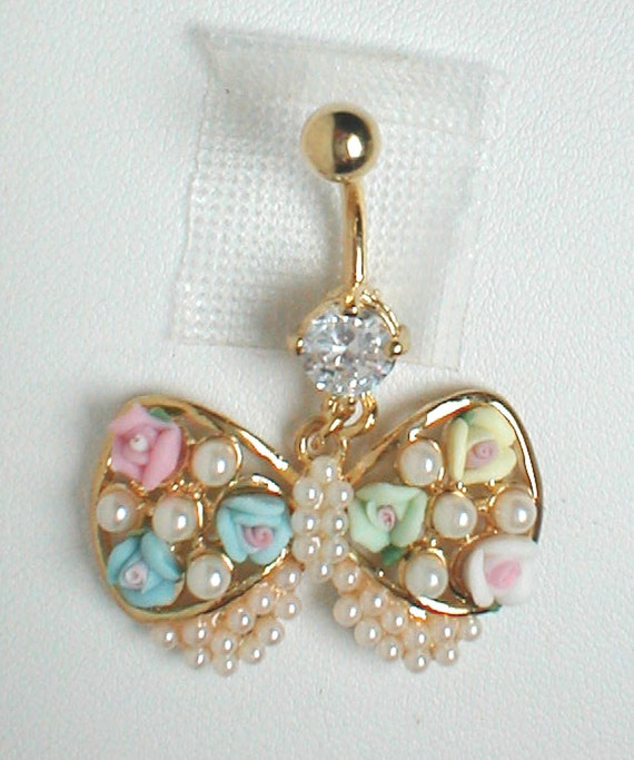 Unique Belly Ring Tredny Bow by pondgazer2004 on Etsy