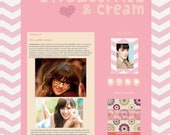 Strawberries and Cream- Premium Premade Blog Template for Blogger- Graphic Design - Installation Included