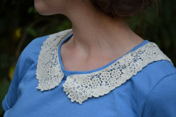 Floral Crocheted Collar Knit Top // Sky Blue Embellished Womens Tee // Secret Garden Pattern Lace Collar
