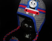 Thomas Train Earflap Beanie Hat - Grey, Blue and Red Felt Appliqued Crochet Hat