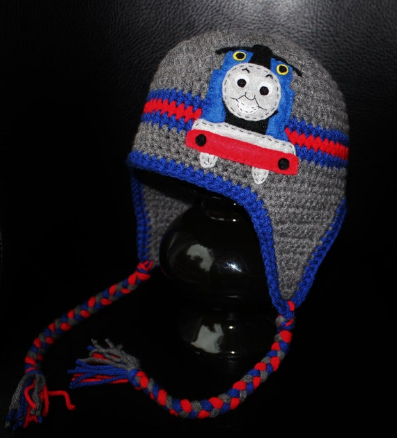 Thomas Train Earflap Beanie Hat Grey Blue And Red Felt