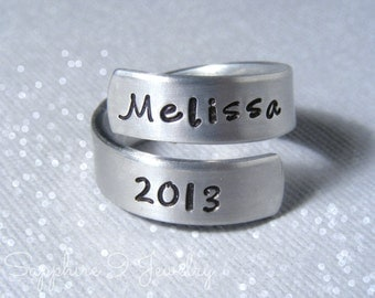 Personalized Graduation Ring - Personalized Class Ring - Class Ring 2016 - Graduation Gift - Handstamped Ring - Graduation Gift - Wrap Ringp