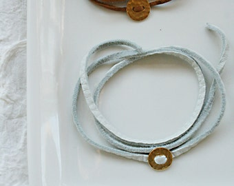 Button Gold Plated Leather Wrap bracelet, layering bracelet, leather suede bracelet, tiny gold charm and leather bracelet