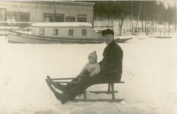 """Vintage Photo Postcard """"On the Frozen Lake with Papa"""", Photography, Paper Ephemera, Antique, Snapshot, Old Photo, Collectibles - 0081"""