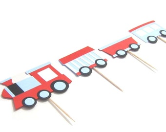 TRAIN Cupcake Toppers - Set of 12 - You get 3 complete trains