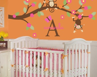 Monkey Wall Decal Baby Toddler Nursery Decor Kids Branch Baby GirlTree Personalized Custom Name