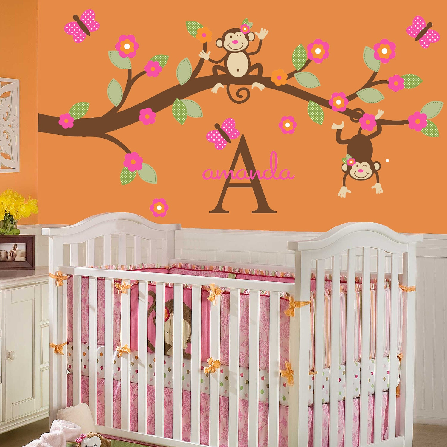 monkey wall decal baby toddler nursery decor kids branch baby zoom