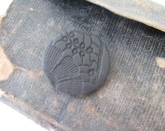delicate black brooch pin - black vintage lace imprint brooch -  flower print - black textured brooch