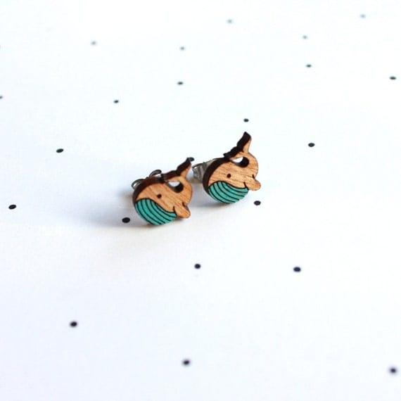Whale Earrings - Wooden Laser Cut. Cute Animal - SALE