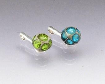 Twin pendants best friend jewelry changeable lampwork glass beads Made to ORDER aqua blue green sea rocks anne londez