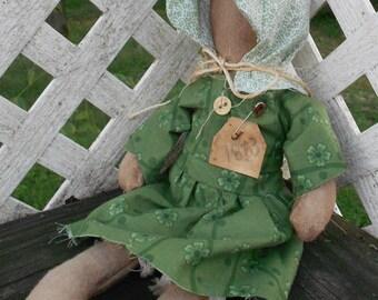 Faceless Doll, Primitive, Pioneer, Prairie,  Shelf Sitter, Walnut Aged, 1863 Tag, Unique Original Bonnet Design, Bone Button, Prim, Country