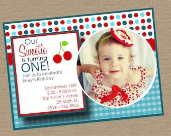 Cherry Sweet Birthday Invitation with Photo