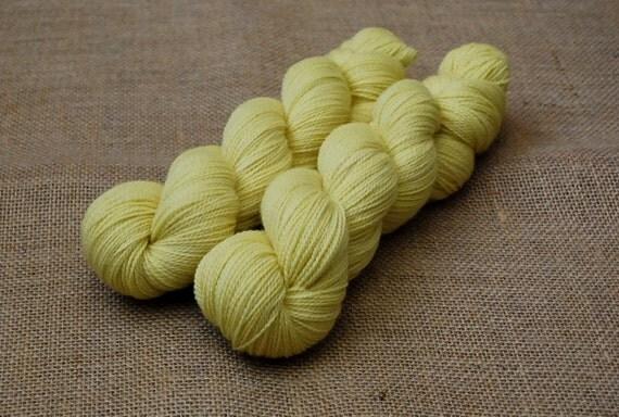 Hand Dyed Sock/Fingering Weight Yarn Organic Merino Naturally Dyed in Lemon Drop