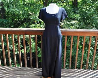 Full-length Black Gown, Formal Maxi Dress, Open Back,  Size 6, New 1990s, Evening Wear, Prom