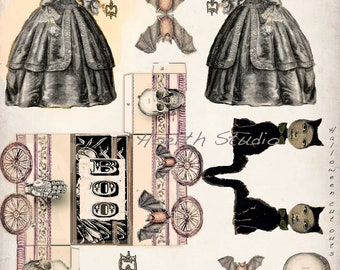 Halloween steampunk  gothic  paper doll collage cut outs scrapbook items DIY decor