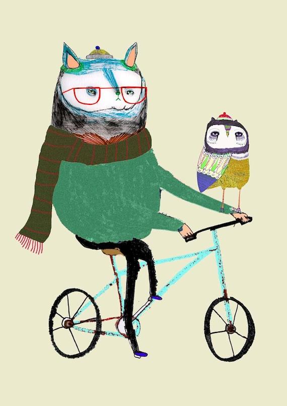 Cat and Owl Friend on Bike. Nursery Decor, Kids Art, Illustration Art Print. Childrens Decor.