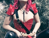 "HALF PRICE Red Mountie pvc overbust corset with gold snaps & eyelets XS 21"" for 23-26"" waist (photoshoot sample ready to ship)"