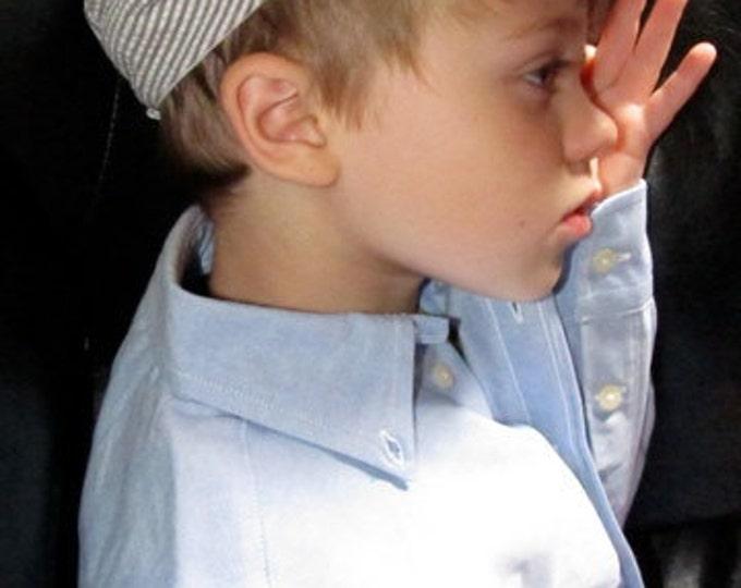 Newsboy Hat in Gray and White Seersucker, Newsboy Hat for Wedding