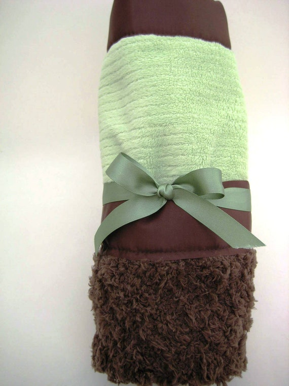 "Brown and Mint Green Blanket - Minky Soft Infant ""Lovey"" Blanket that Can Be Personalized"