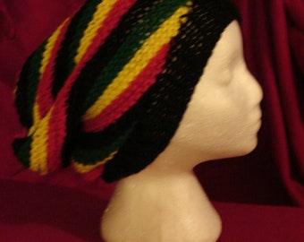 Rasta PEACE Hat Slouchy Twisted Striped Rastafarian  Hat Stocking Cap Jamaican *