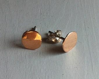 Gold stud earrings 14k pink gold sterling silver stud, gold studs, gold stud earrings, pink gold, silver, gold earrings.